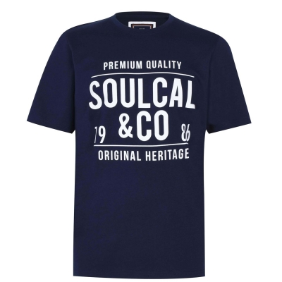 Tricou cu imprimeu SoulCal Large pentru Barbati bleumarin