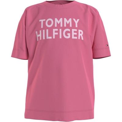 Tricou cu imprimeu Tommy Hilfiger Text roz thj