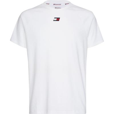 Tricou cu imprimeu Tommy Sport Tommy Chest ybr alb