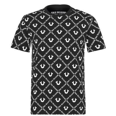 Tricou cu imprimeu True Religion AO negru alb