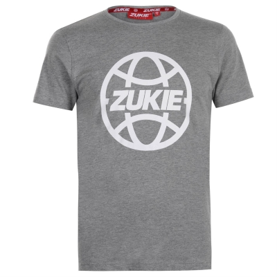 Tricou cu imprimeu Zukie clasic pentru Barbati gri globe