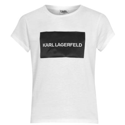 Tricou cu imprimeu KARL LAGERFELD Block pentru fetite alb 10b