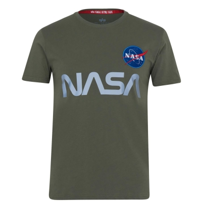 Tricou detaliu reflectorizant Alpha Industries NASA inchis oliv