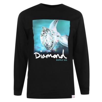 Tricou Diamond Supply Co. Shimmer cu Maneca Lunga negru