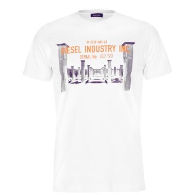 Tricou Diesel Industry imprimeu Graphic alb