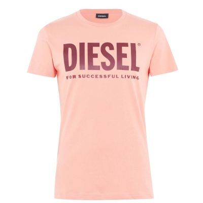 Tricou cu imprimeu Diesel Text roz 3bb
