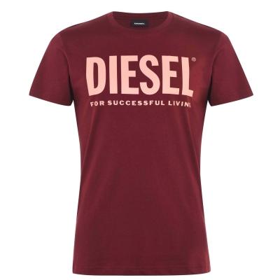 Tricou cu imprimeu Diesel Text rosu burgundy 42m
