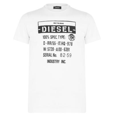 Tricou Diesel Text imprimeu Graphic alb