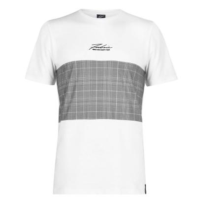Tricou Fabric Check Panel alb