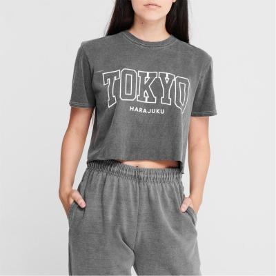 Tricou Fabric City Crop pentru Femei tokyo patratele