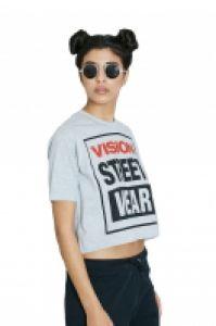 Tricou femei Cropped Grey Vision Street Wear