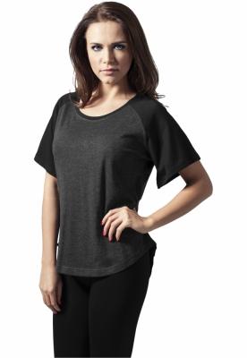 Tricou femei simplu raglan gri-carbune Urban Classics negru