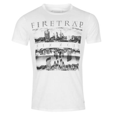 Tricou Firetrap imprimeu Graphic alb skyline