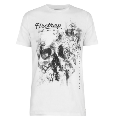 Tricou Firetrap imprimeu Graphic pentru Barbati lady alb