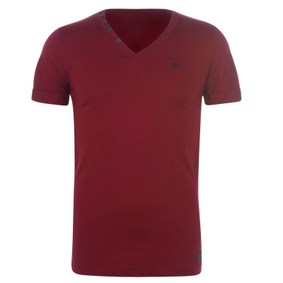 Tricou Firetrap Striding cu decolteu in V pentru Barbati rosu burgundy