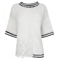 Tricou French Connection tricot galben alb