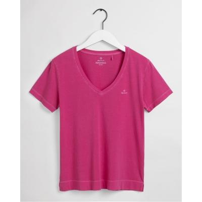 Tricou Gant cu Maneca Scurta cu decolteu in V roz