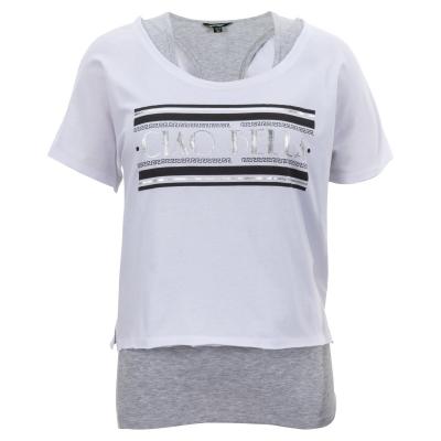 Tricou Golddigga cu 2 straturi pentru Femei alb gri m