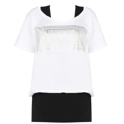 Tricou Golddigga cu 2 straturi pentru Femei alb negru