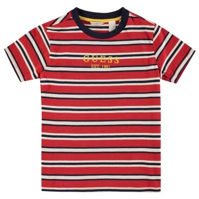 Tricou Guess cu dungi SS rosu s590