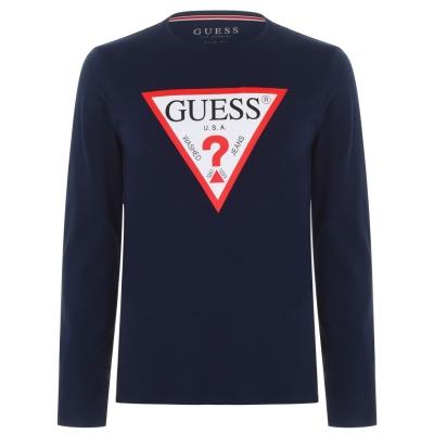 Tricou Guess cu Maneca Lunga Original albastru bleumarin g720