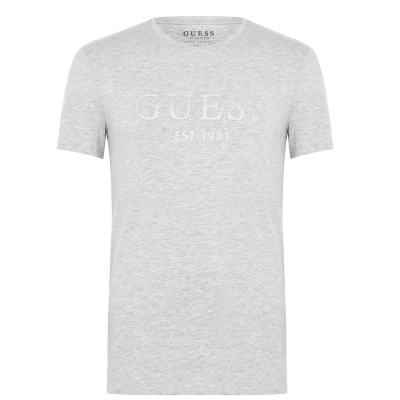 Tricou Guess Sleeve Text lght gri mov