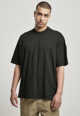Tricou guler inalt supradimensionat negru Urban Classics
