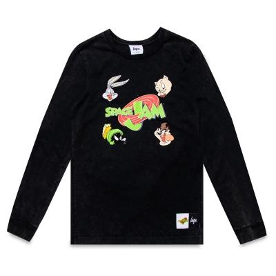 Tricou Hype x Space Jam Retro gri Acid Wash cu Maneca Lunga pentru Copii