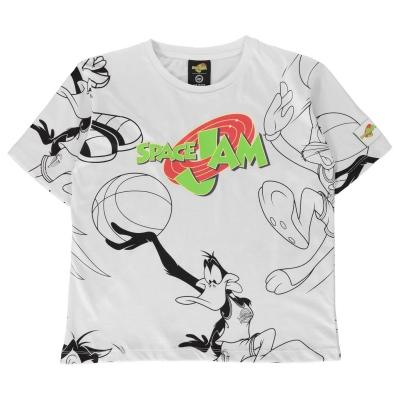 Tricou Hype x Space Jam Retro Logo supradimensionat pentru Copii cu personaje alb