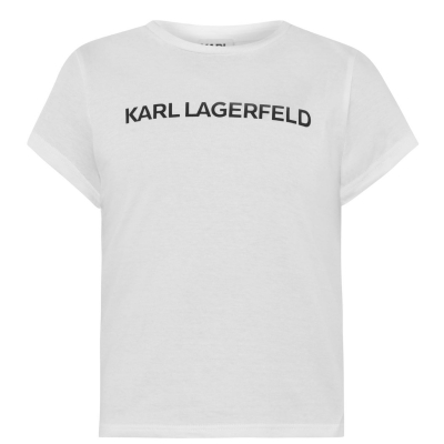 Tricou KARL LAGERFELD Basic Print pentru fetite alb 10b