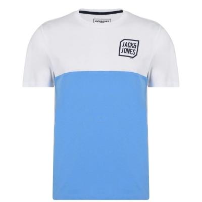 Tricou Jack and Jones Half Logo Chest albastru deschis alb