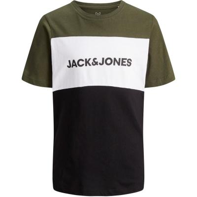 Tricou Jack and Jones Logo Blocking pentru copii verde bleumarin