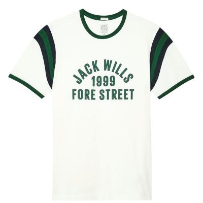 Tricou Jack Wills Edmondsley imprimeu Graphic Ringer vintage alb