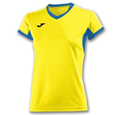Tricouri sport Joma T- Champion Iv galben-royal cu maneca scurta pentru Femei albastru roial