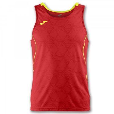 Tricou jogging Record Joma II rosu-galben fara maneci albastru roial alb