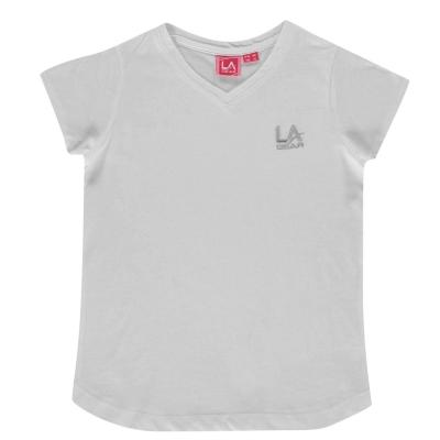 Tricou LA Gear cu decolteu in V pentru fetite alb
