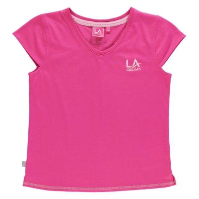 Tricou LA Gear cu decolteu in V pentru fetite inchis roz