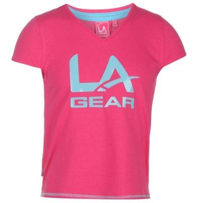 Tricou LA Gear cu imprimeu mare cu decolteu in V pentru fete