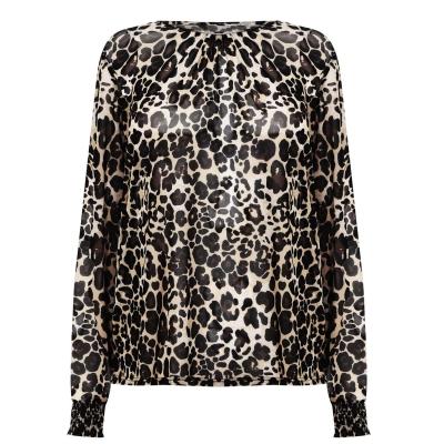 Top cu plasa Linea Linea Printed cu Shirring Cuff Detail animal multicolor