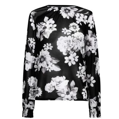 Top cu plasa Linea Linea Printed cu Shirring Cuff Detail floral multicolor