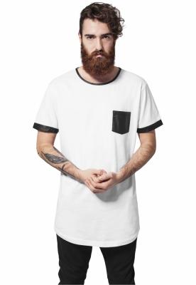 Tricou lung cu buzunar imitatie piele alb-negru Urban Classics