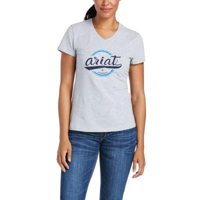 Tricouri Ariat Authentic Logo pentru Femei deschis gri