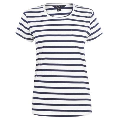 Tricou Miso Scoop cu buzunar pentru Femei alb bleumarin