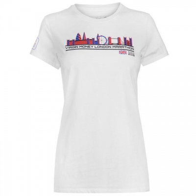 Tricou New Balance Virgin London Marathon 2018 imprimeu Graphic pentru Femei alb skyline