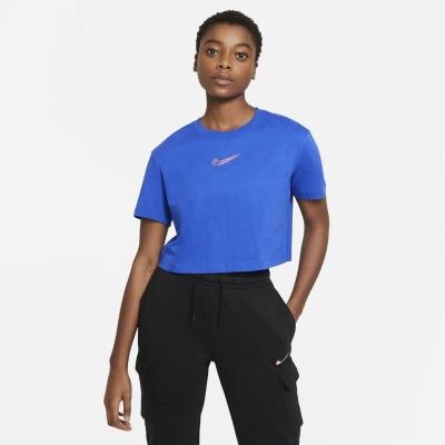 Bluza scurta Nike Print albastru roial
