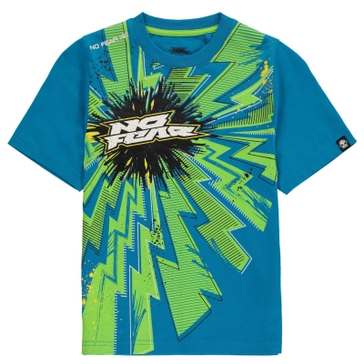 Tricou No Fear Core imprimeu Graphic pentru baietei albastru