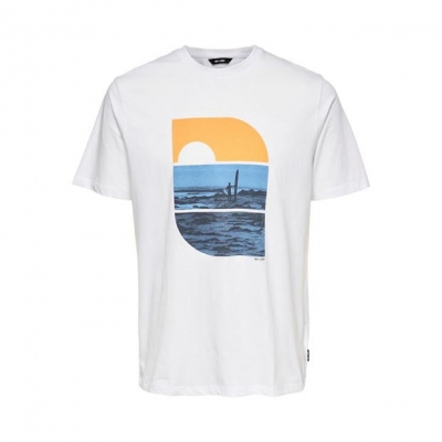 Tricou Only and Sons imprimeu Graphic Regular alb