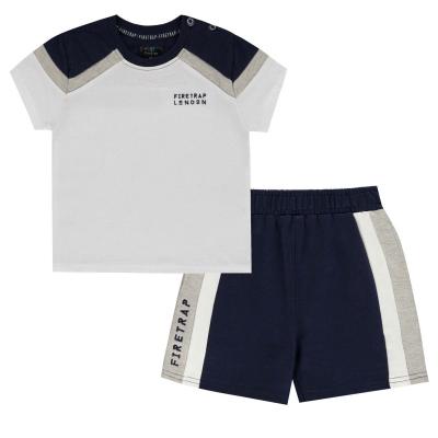 Tricou Pantaloni scurti Set bebelusi Firetrap Camo and pentru baieti bleumarin alb