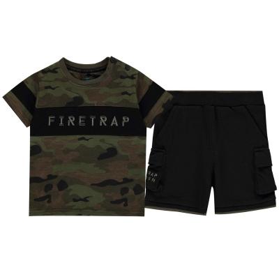 Tricou Pantaloni scurti Set bebelusi Firetrap Camo and pentru baieti camuflaj negru