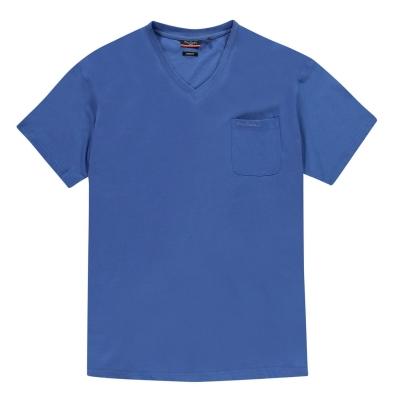 Tricou Pierre Cardin marimi mari cu decolteu in V pentru Barbati albastru
